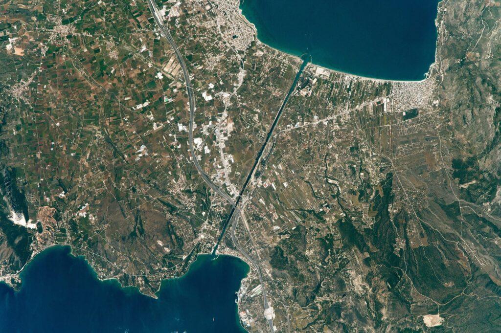 Korint Kanalı, Uzay Görüntüsü