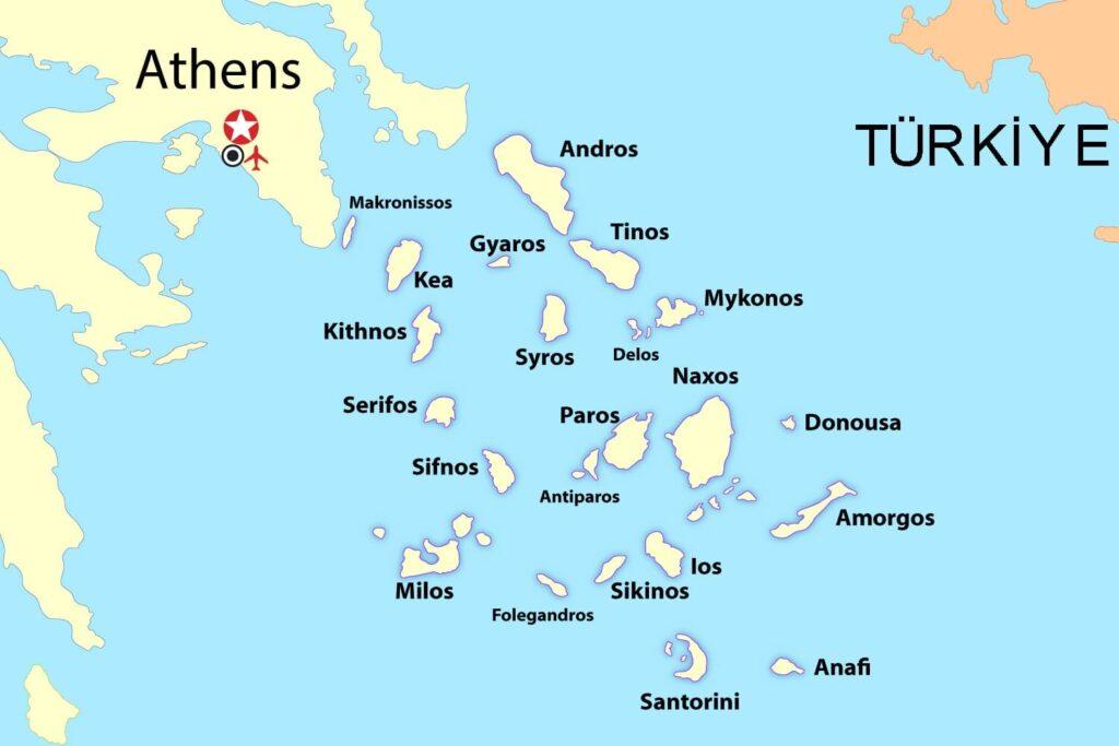 Kiklad Adaları Haritası