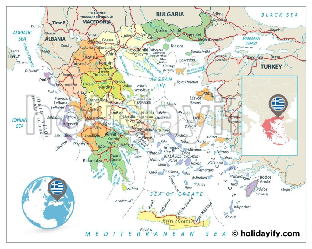 Yunan Adaları Haritası (Güncel)