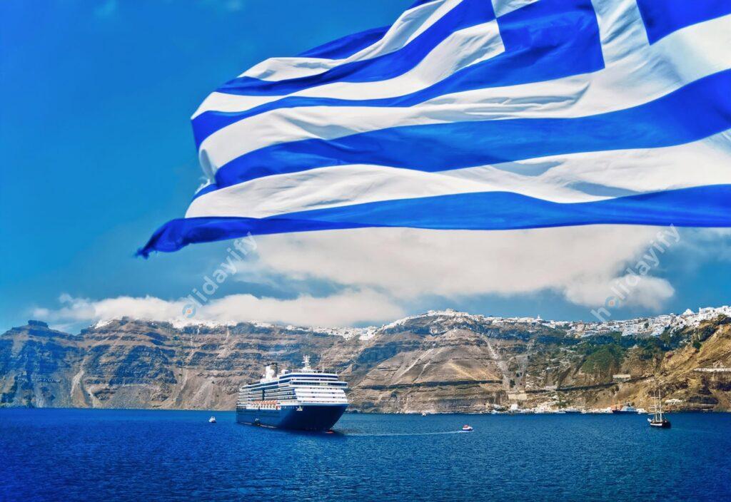 Yunanistan bayrağı, Santorini
