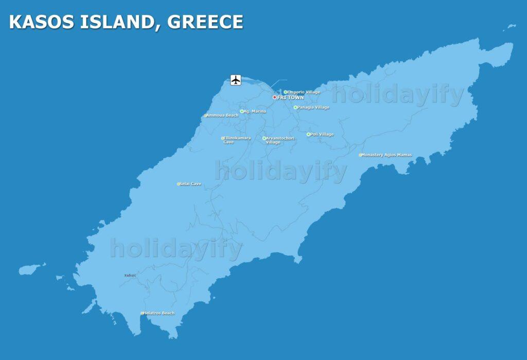Kasos adası plajları, köyleri, mağaraları, Yunanistan