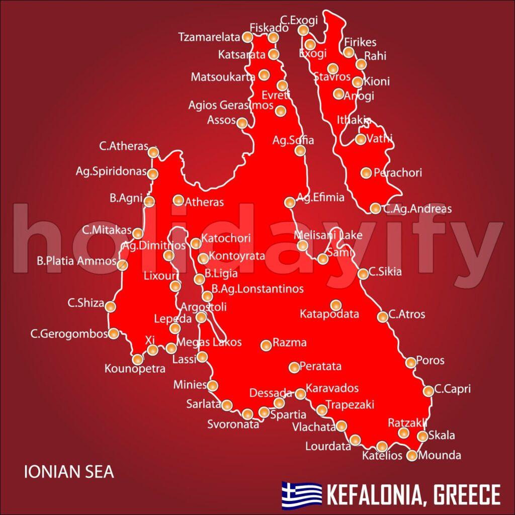 Kefalonya Adası Harita