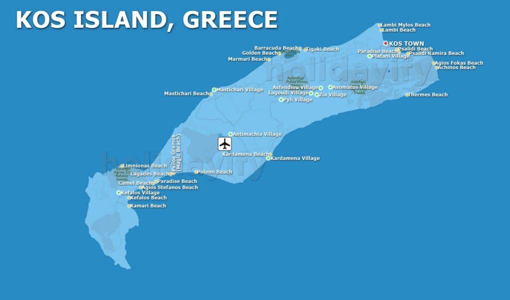 Kos adası plajları ve köyleri