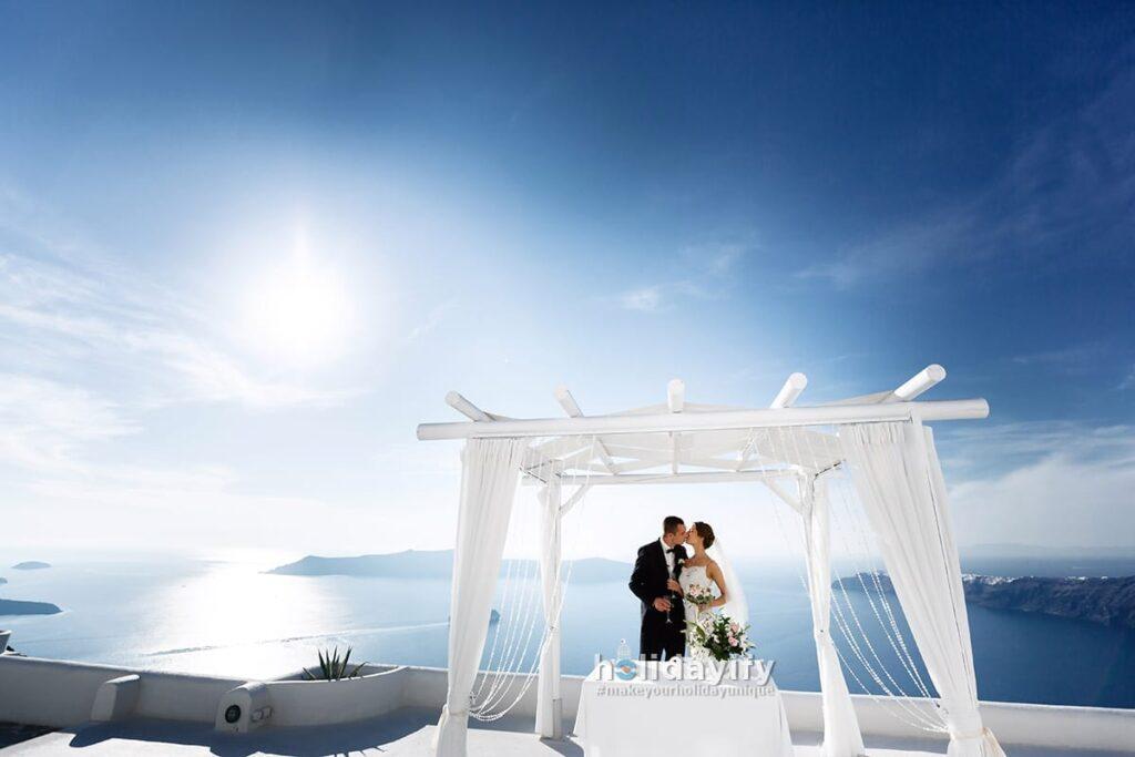 Santorini'de evlilik teklifi