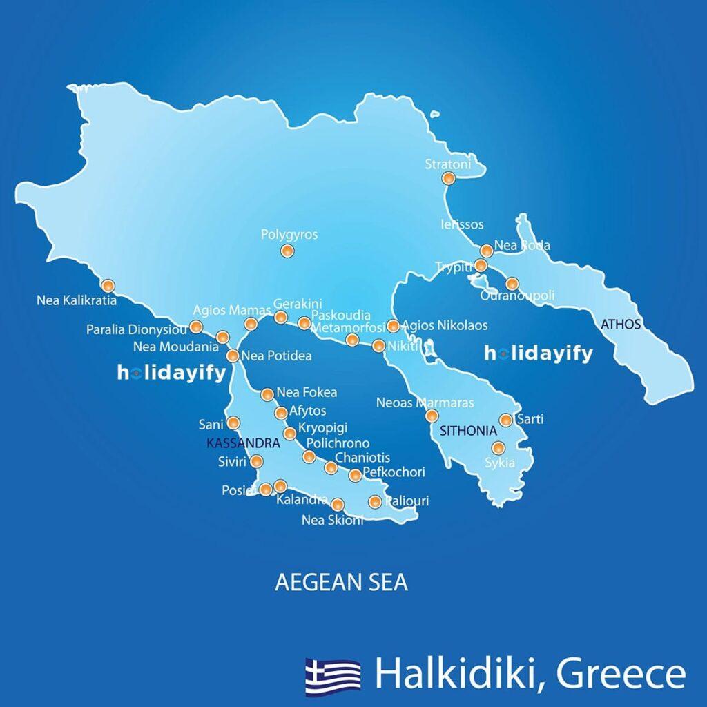 Halkidiki Haritası, Köyleri, Plajları