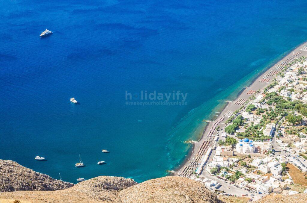 Perissa plajı, Santorini adası, Yunanistan