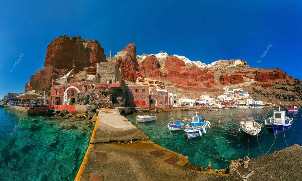 Amoudi Limanı, Oia veya Ia, Santorini, Yunanistan
