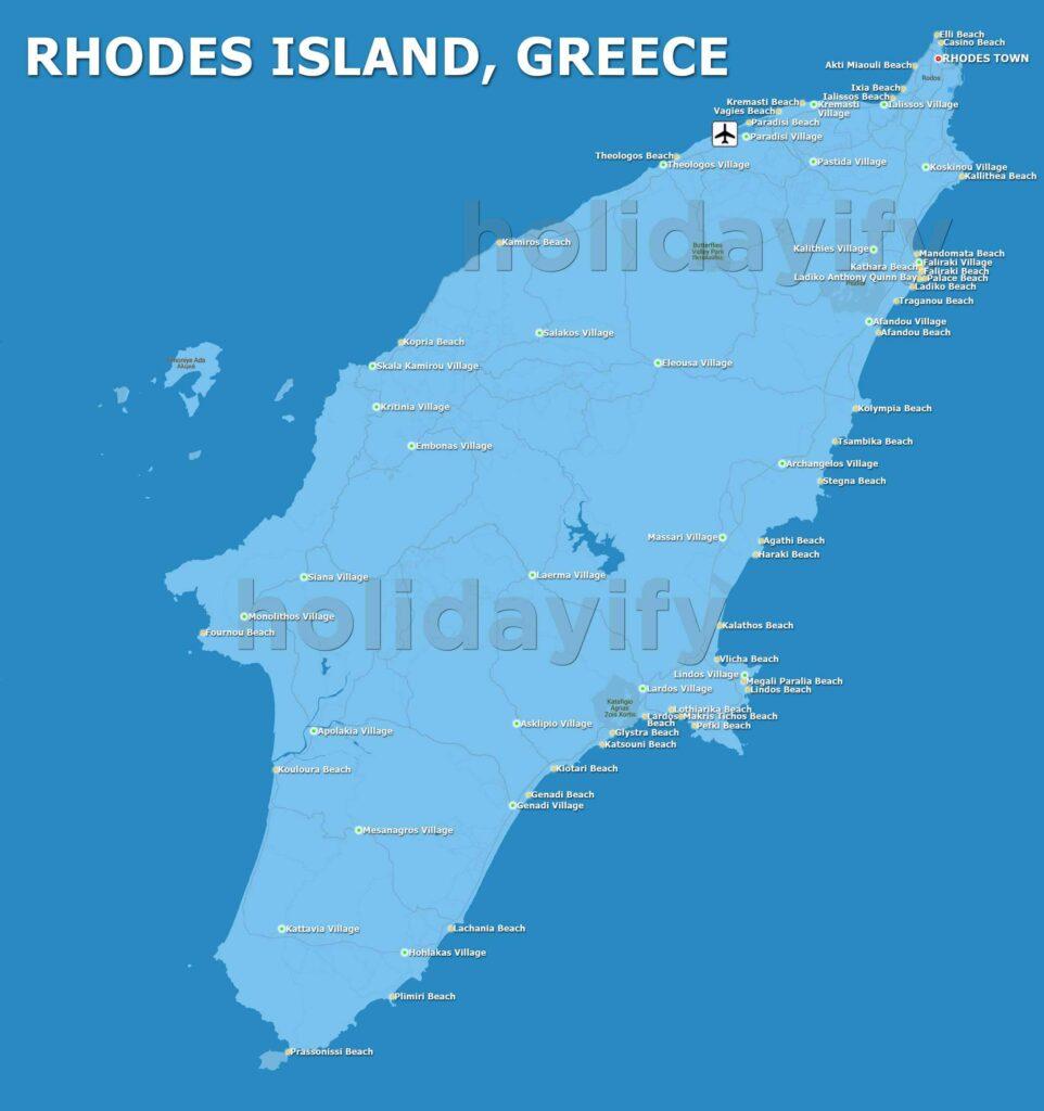 Rodos Haritası: Plajlar, Köyler