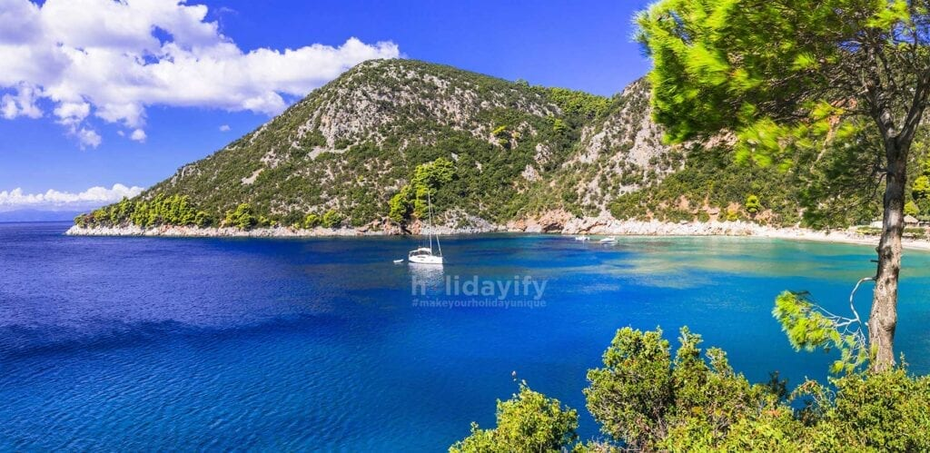 Limnonari koyu, Skopelos, Yunanistan