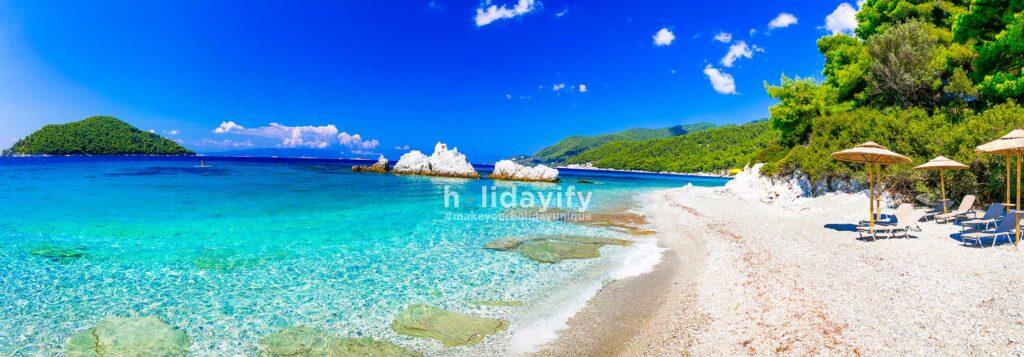 Milia plajı, Skopelos, Yunanistan