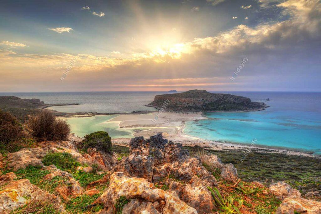 Balos plajında gün batımı, Girit, Yunanistan