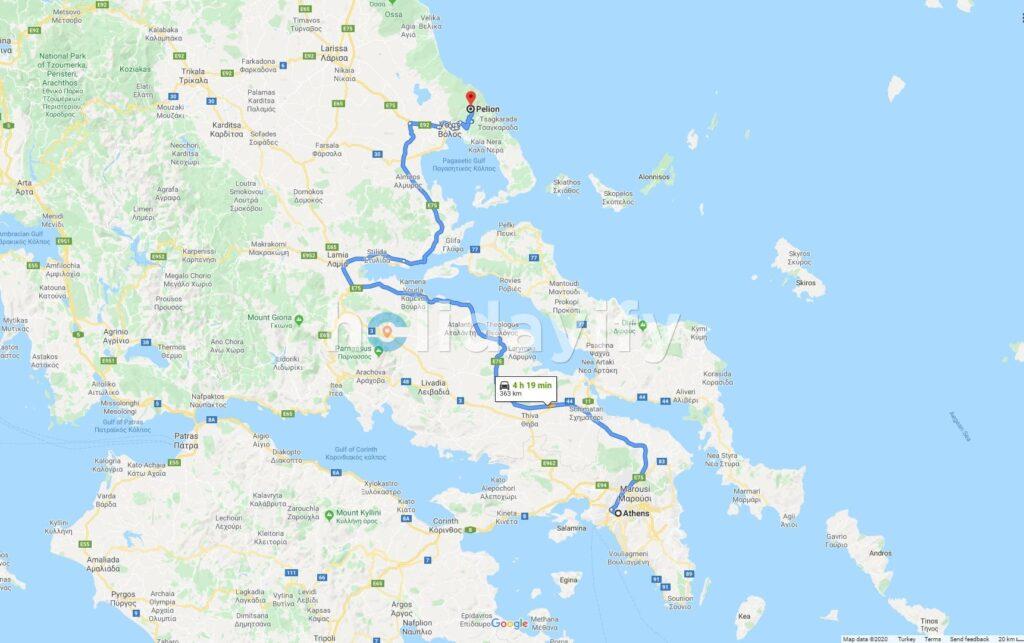 Atina'dan Pelion'a - Harita Üzerindeki Yol