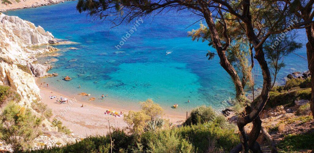 Vroulidia plajı, Sakız adası