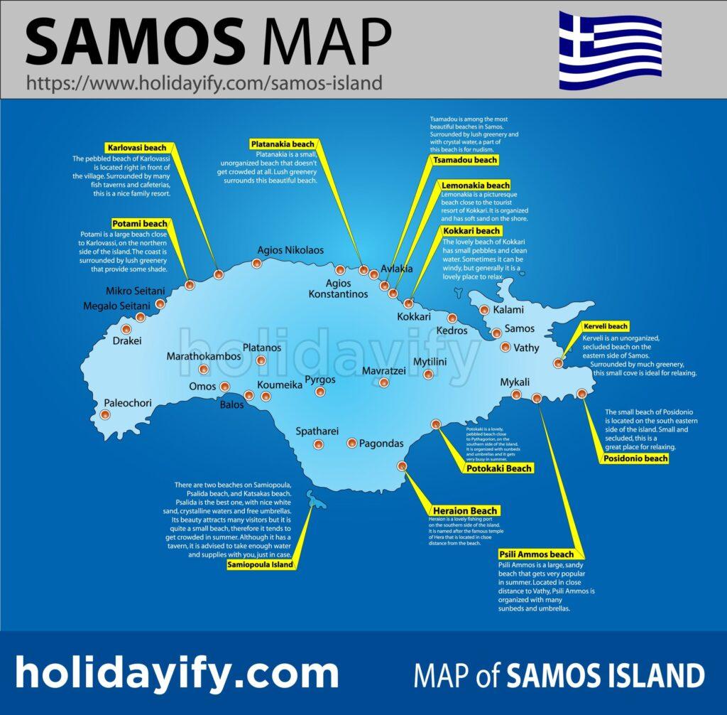 Sisam adası haritası