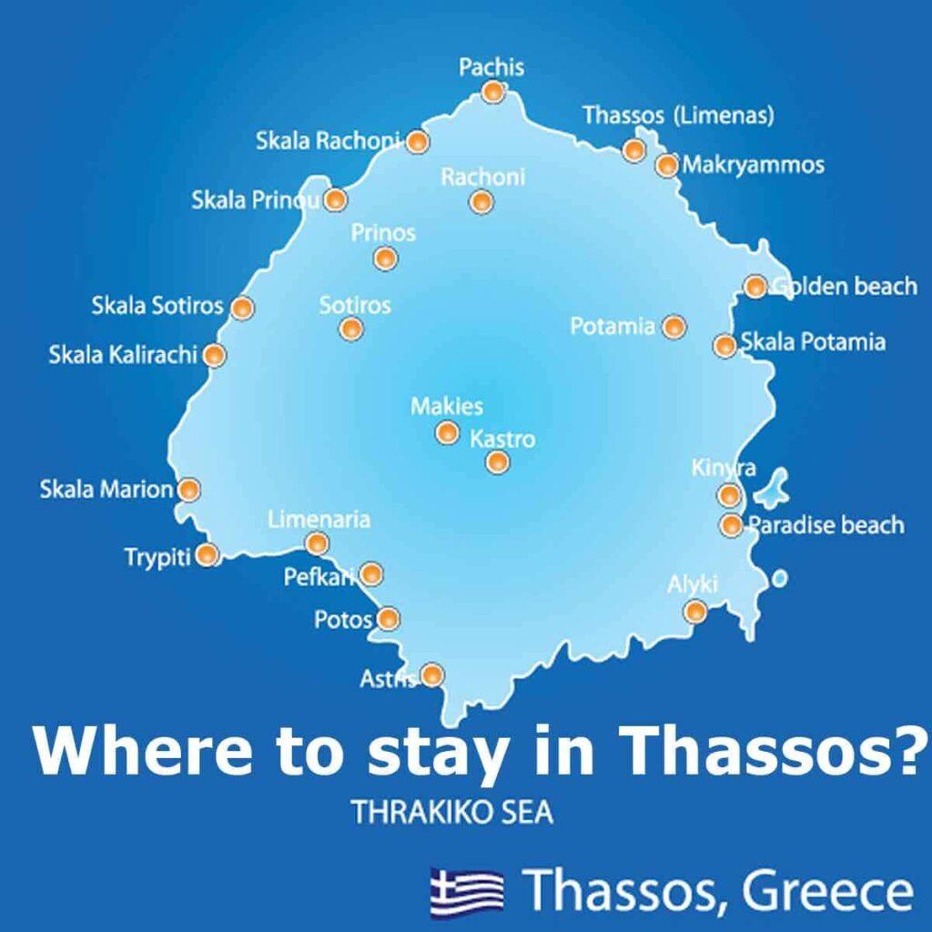 Thassos adasında nerede kalınır