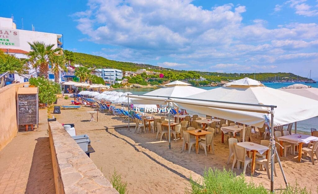Beach with open air cafe in Agia Marina Aegina