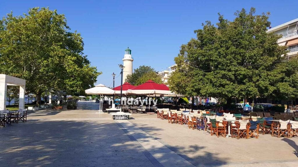 Street and Cafes in Alexandroupoli, Greece