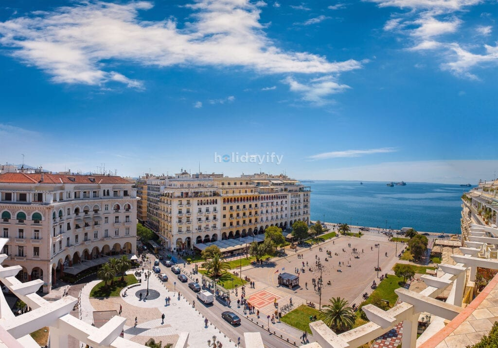 View of Aristotle square, the heart of Thessaloniki, Greece