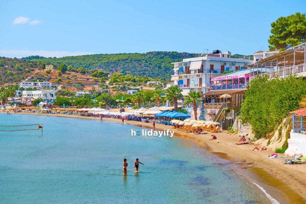 Beach and waterfront in Agia Marina Aegina
