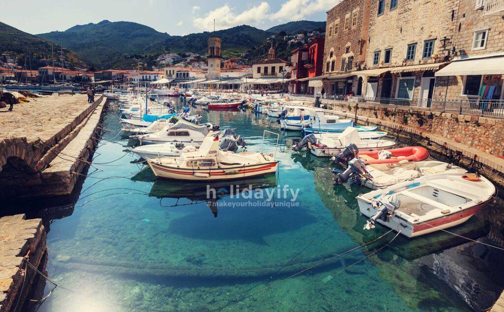 Boats at Hydra marina, Greece
