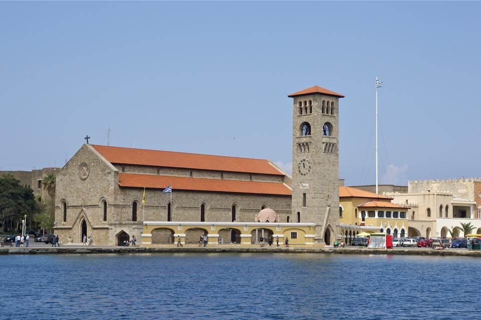 Evangelismos Church at Mandraki Harbour Rhodes Greece