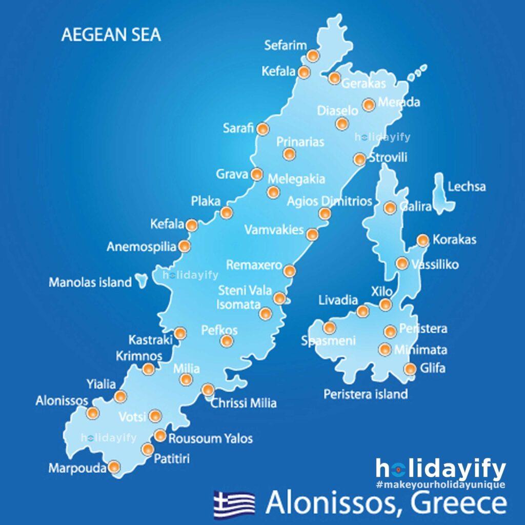 Island of Alonissos in Greece Map
