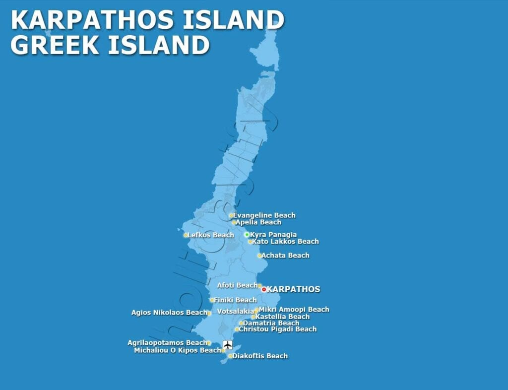Map of Karpathos - Beaches and Villages