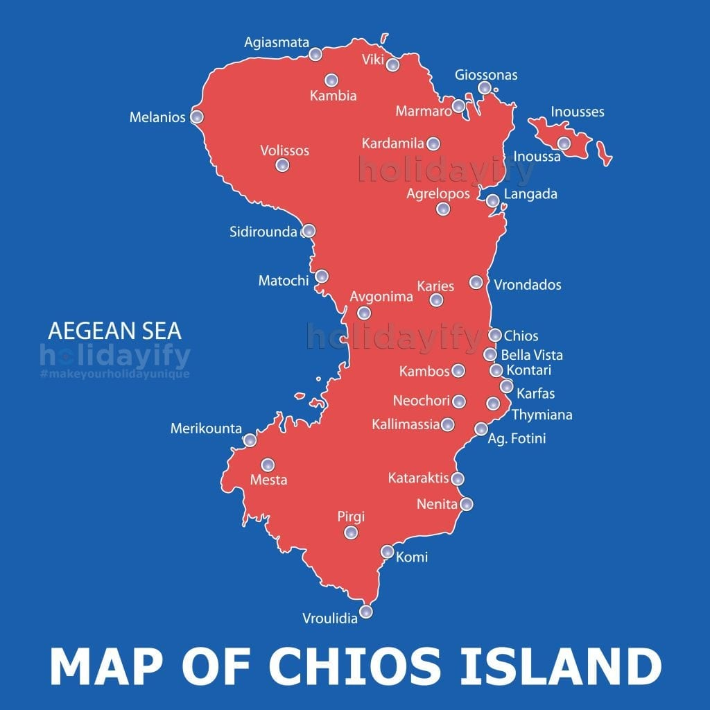 Map of Beaches in Chios