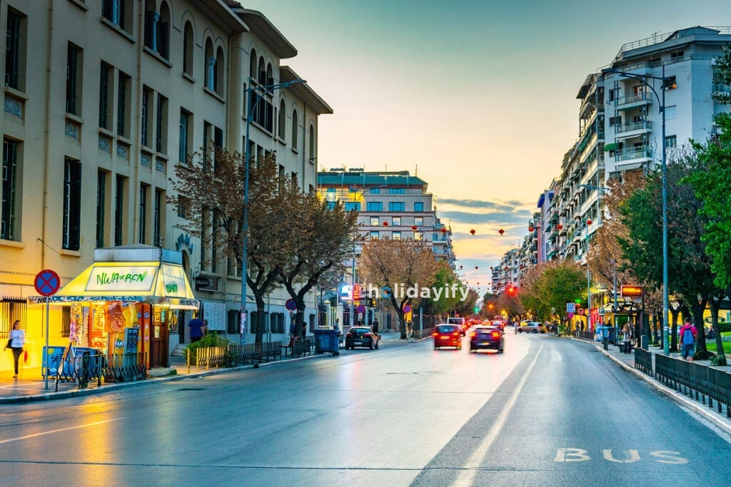 Night view of the main shopping boulevard in Thessaloniki