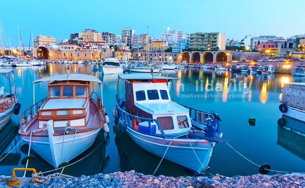 Old fishing boats in port of Heraklion