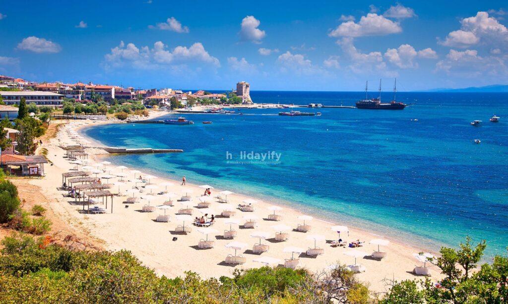 Ouranoupolis sandy beach, Athos, Greece