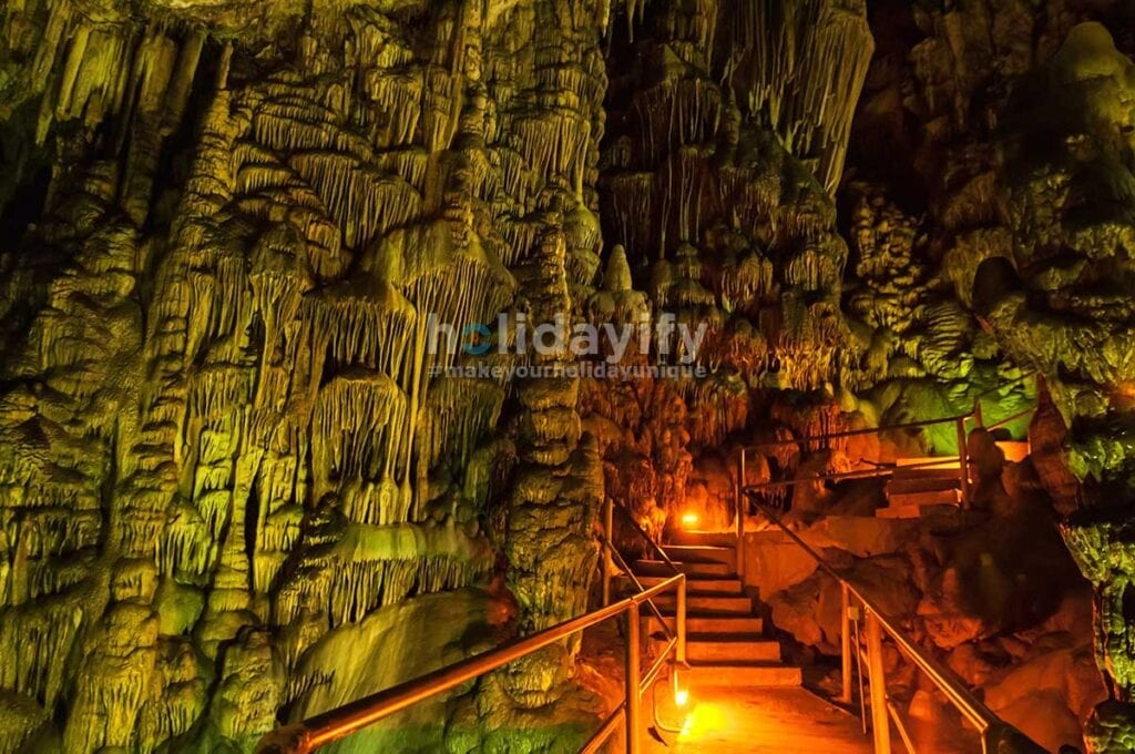 Colorful Stalagmites in the Psychro Cave (Cave of Zeus)
