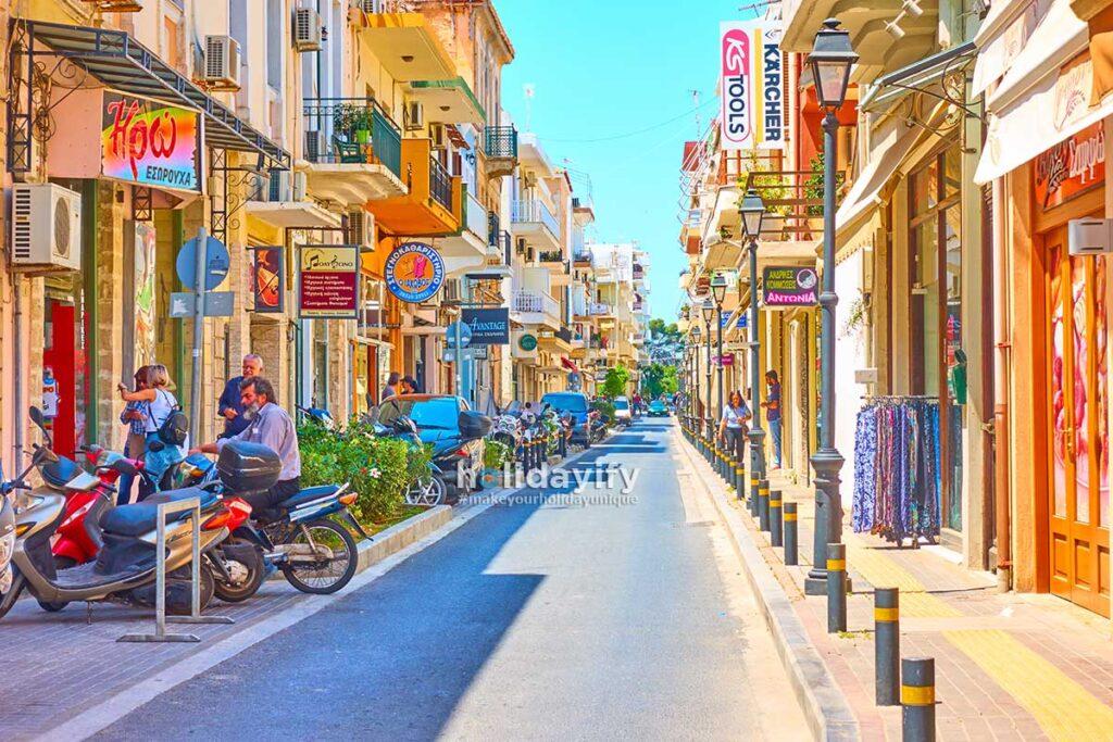 Shopping street in Rethymno, Crete, Greece