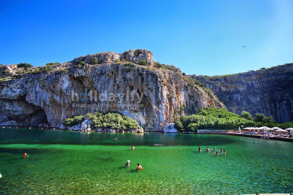 Vouliagmenis Lake, beautiful pond near Athens, Greece