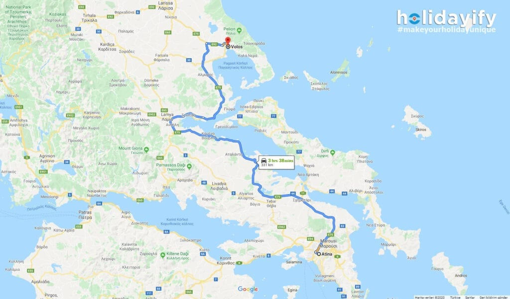 Athens to Volos - Map