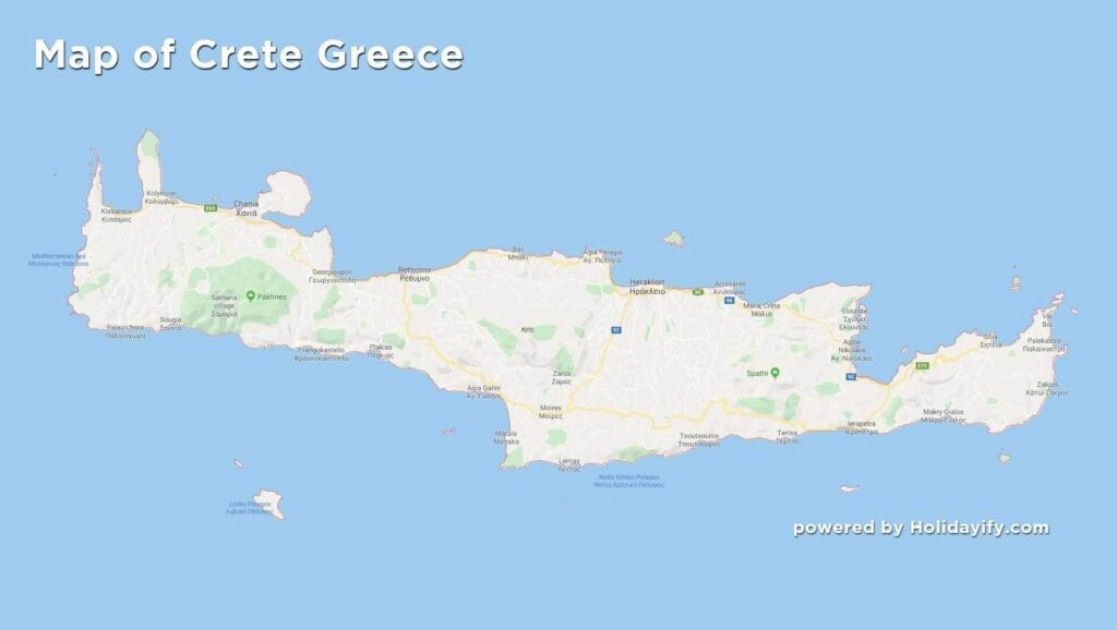 Map of Crete Greece