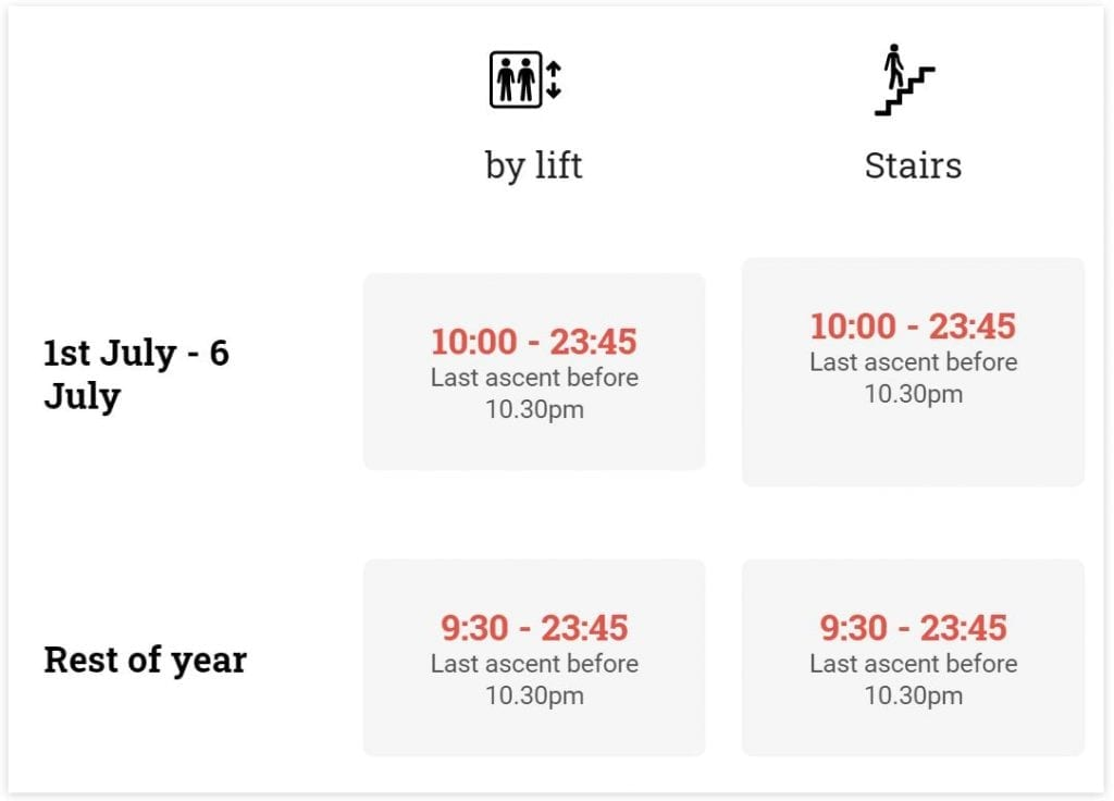 Eiffel Tower Opening times