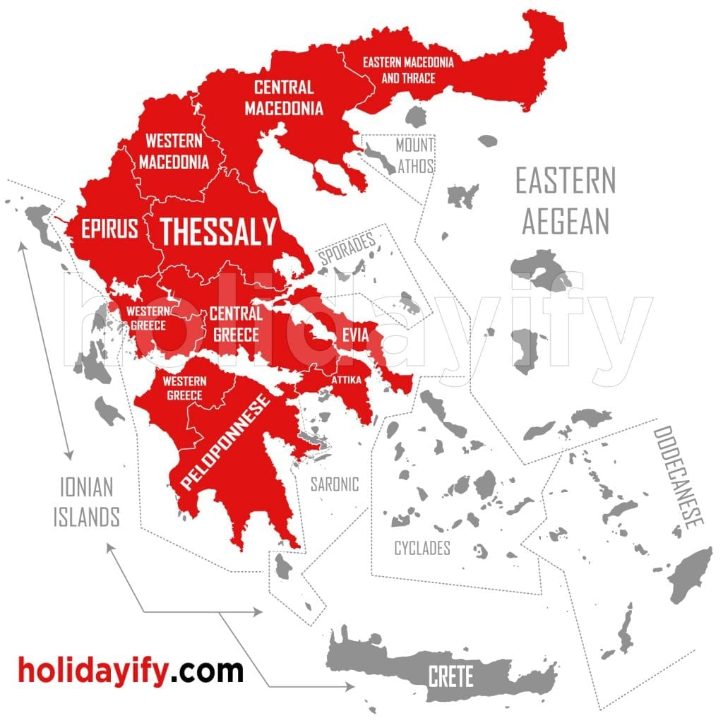 Greek islands on map