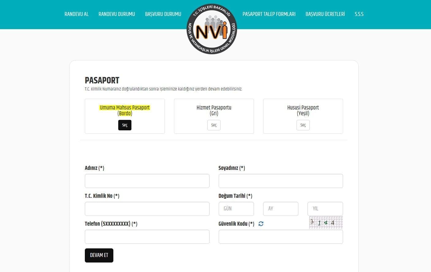 Pasaport randevu sistemi
