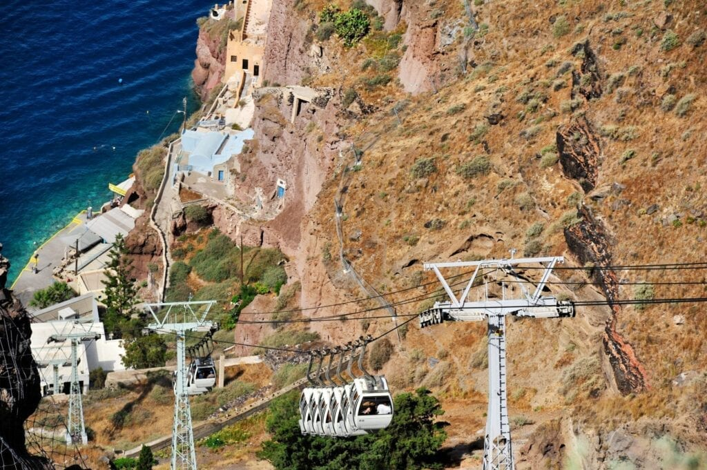Cable Car in Santorini