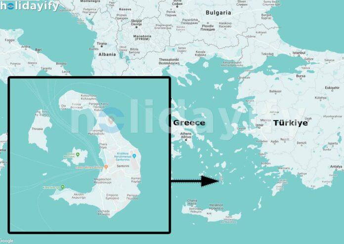 Santorini Haritası, Yunanistan