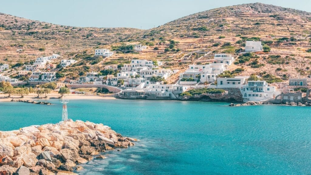 View of seaside village on Sikinos, Greece