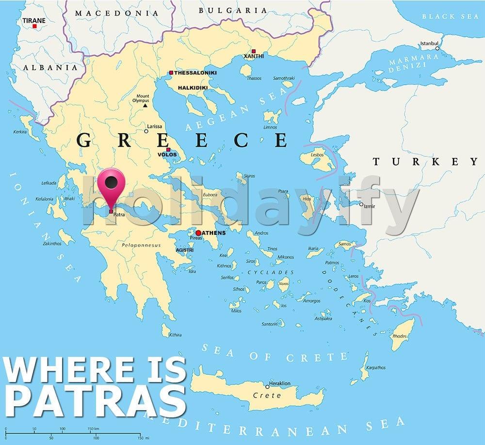Patras nerededir, Yunanistan haritası